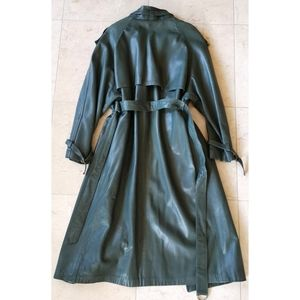 Vintage long leather trench coat green sz 10
